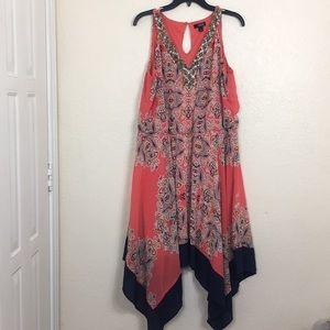 Ana orange and blue dress